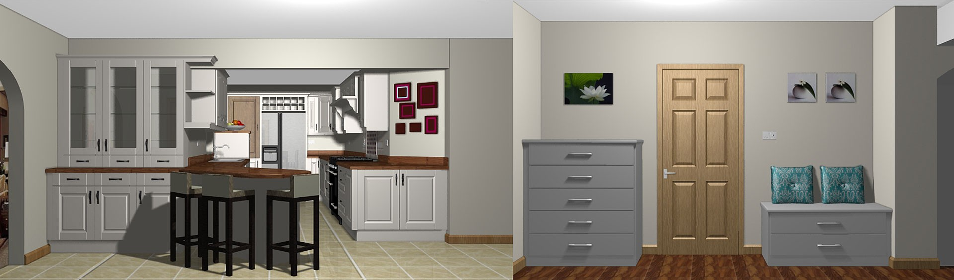 3-D rendering model kitchen living room bedroom