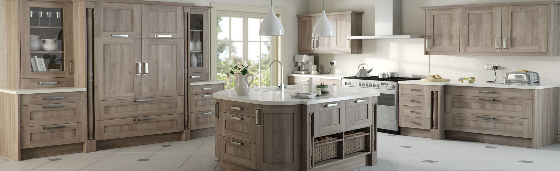 Kitchen with Island and larder