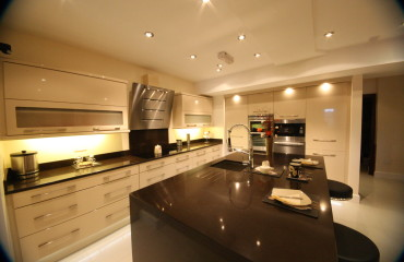 High gloss kitchen with Granite Island