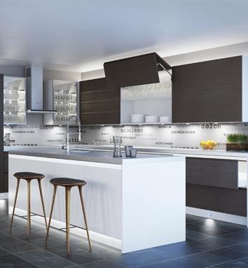 White & Dark Walnut Mix Modern Kitchen Feature Lighting