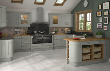 Solid Shaker Grey Kitchen Bespoke radius doors