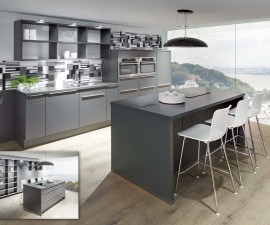 615 Laser Slate Grey 428 Modern Kitchen with extractor on island