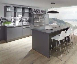 615 Laser 428 Slate Grey modern kitchen with extractor on island