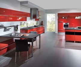 Lacquered Red High Gloss Kitchen