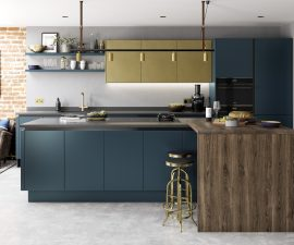 New for 2018 in Kitchens Zola CMS Blue and Ferro Brass